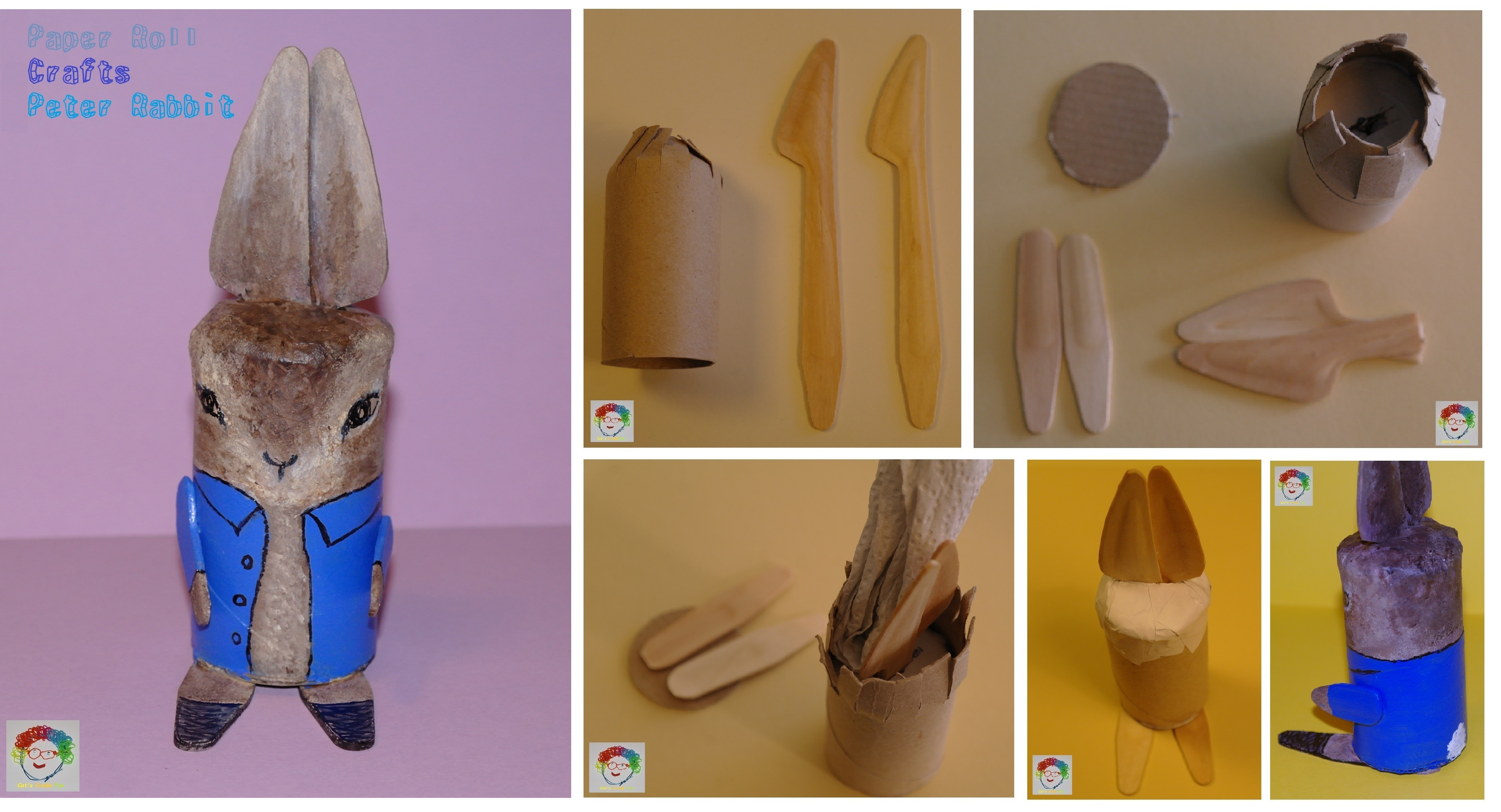 Peter Rabbit Paper Roll Crafts With Wooden Knives